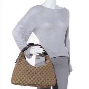 GUCCI GG Canvas Medium Horsebit Chain Hobo Handbag